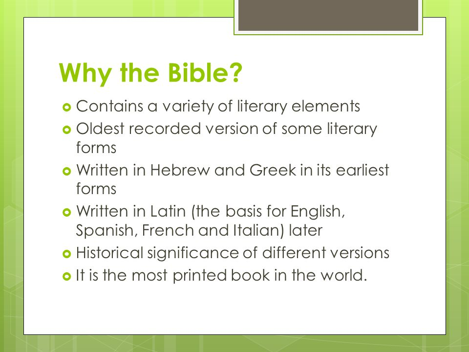 Why the Bible Contains a variety of literary elements