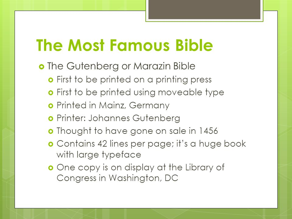 The Most Famous Bible The Gutenberg or Marazin Bible