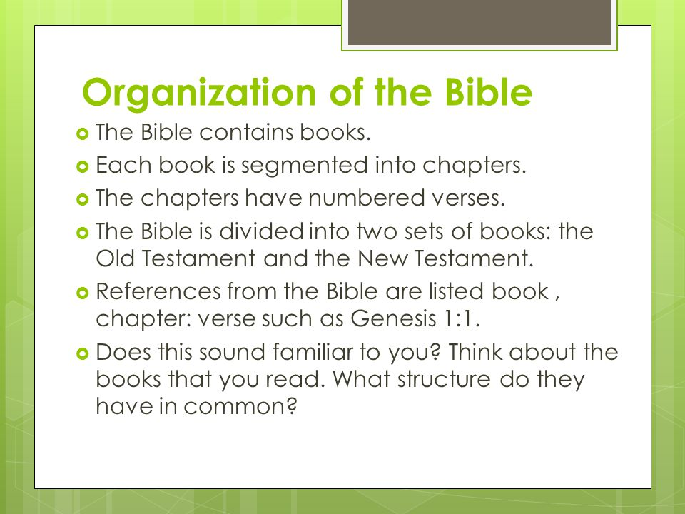 Organization of the Bible