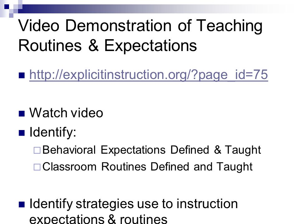Video Demonstration of Teaching Routines & Expectations