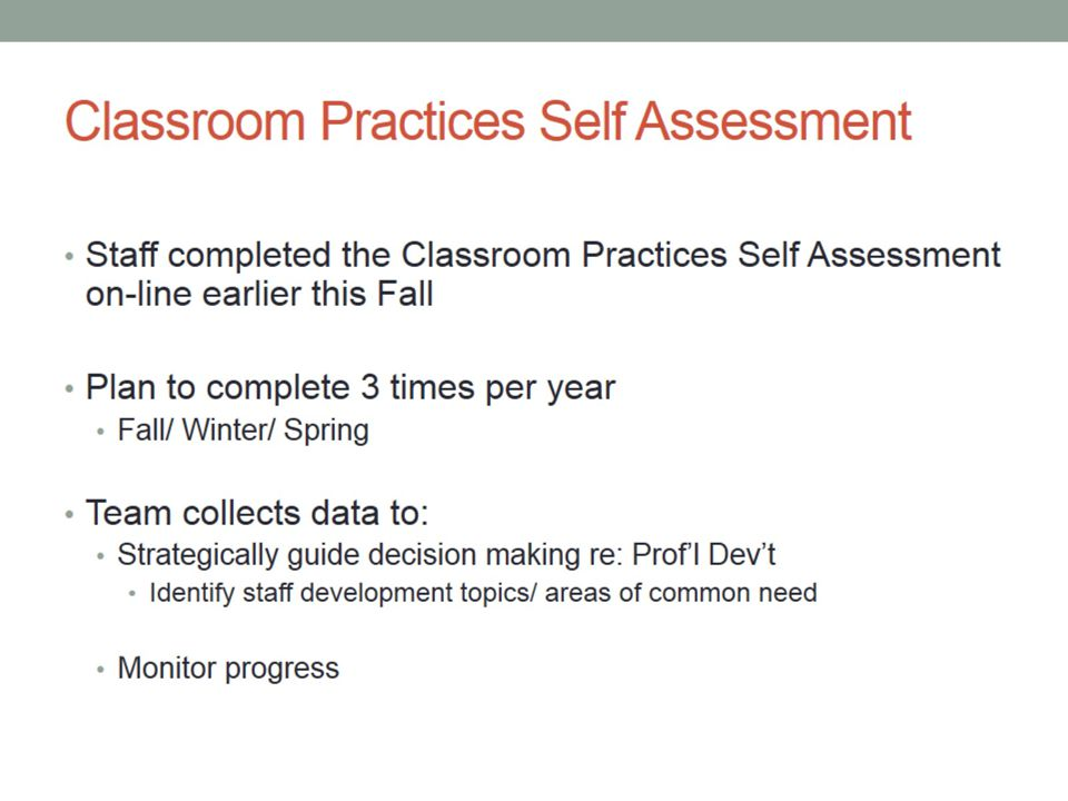 Classroom Practices Self Assessment