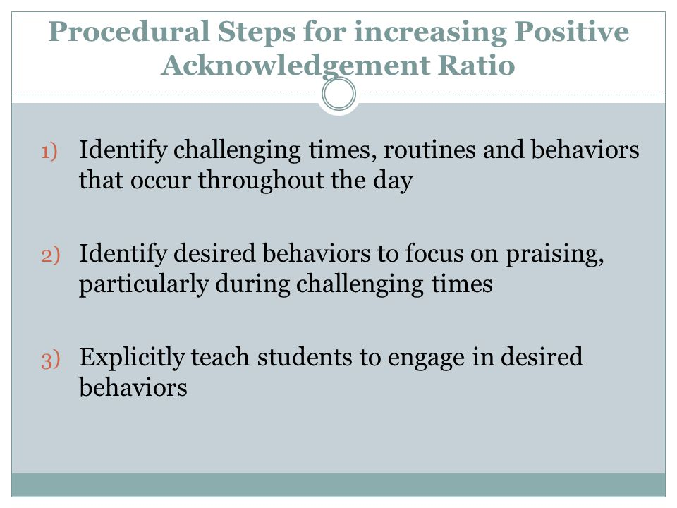 Procedural Steps for increasing Positive Acknowledgement Ratio