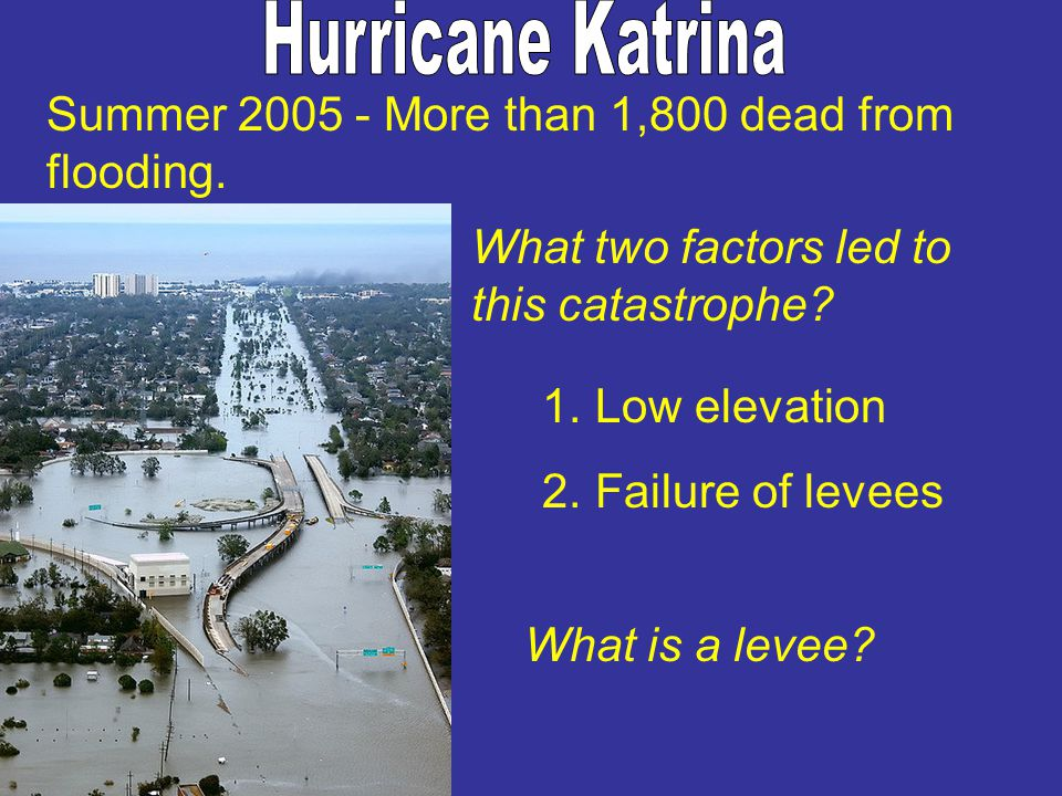 Hurricane Katrina Summer 2005 - More than 1,800 dead from flooding.