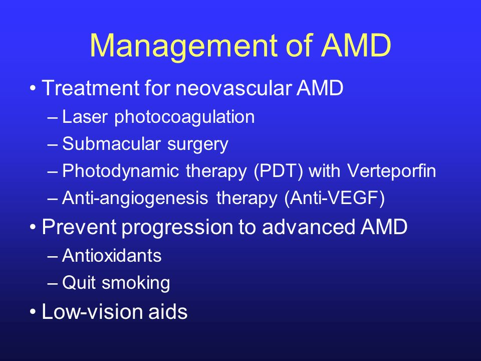Management of AMD Treatment for neovascular AMD