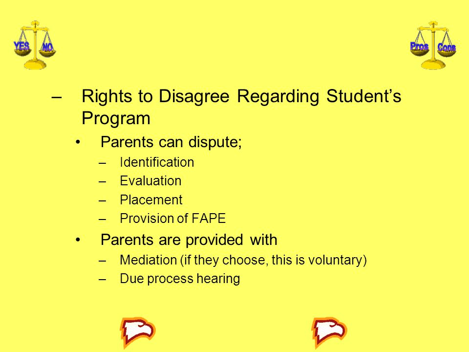 Rights to Disagree Regarding Student's Program