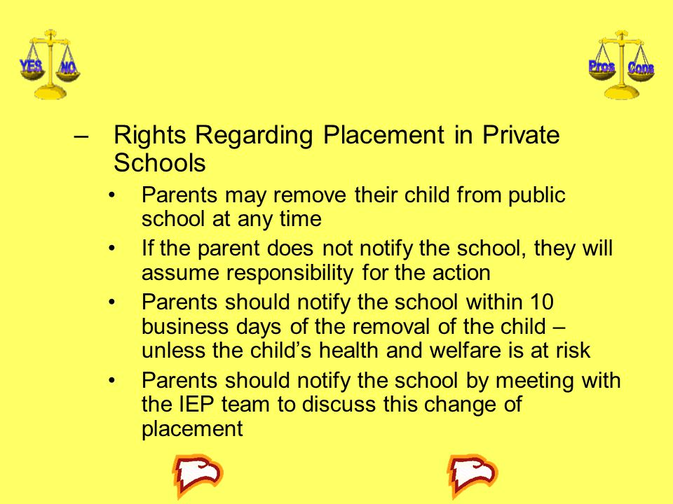 Rights Regarding Placement in Private Schools