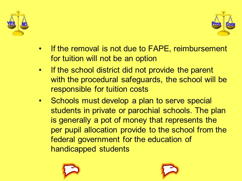 If the removal is not due to FAPE, reimbursement for tuition will not be an option