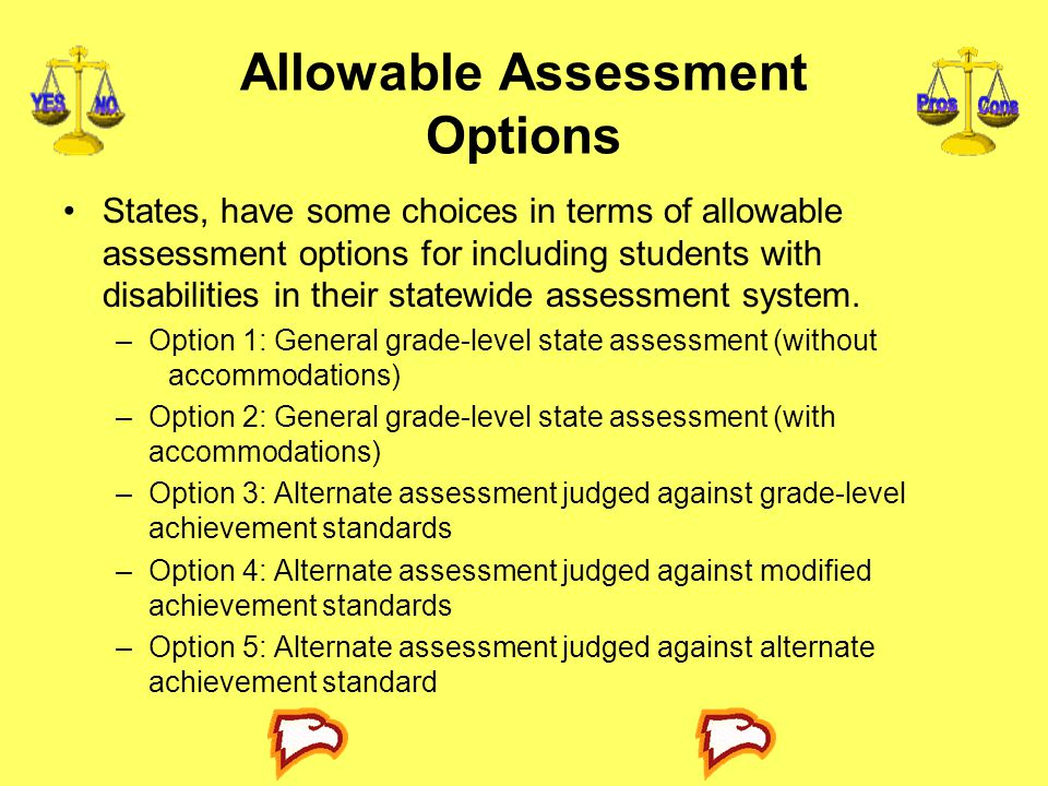 Allowable Assessment Options