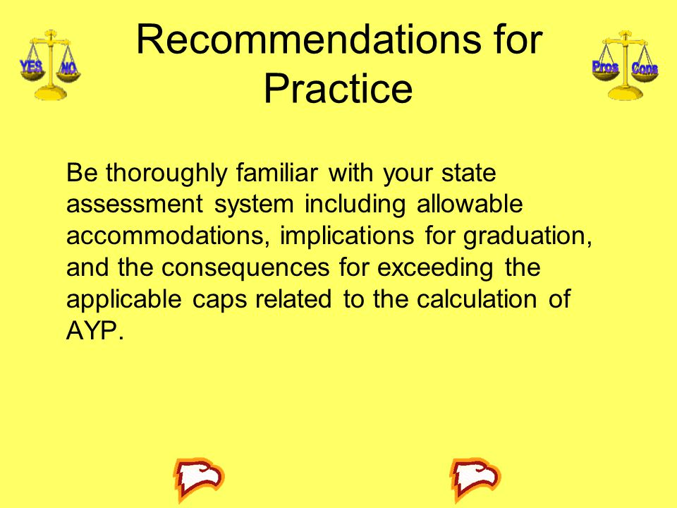 Recommendations for Practice