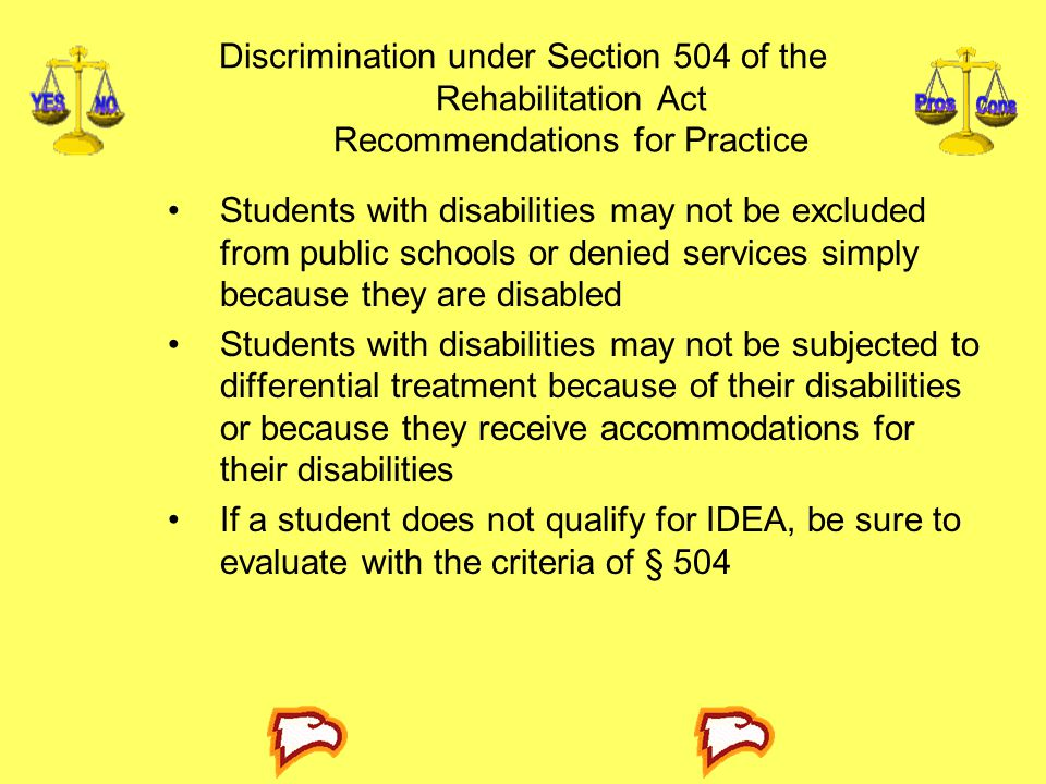 Discrimination under Section 504 of the Rehabilitation Act Recommendations for Practice