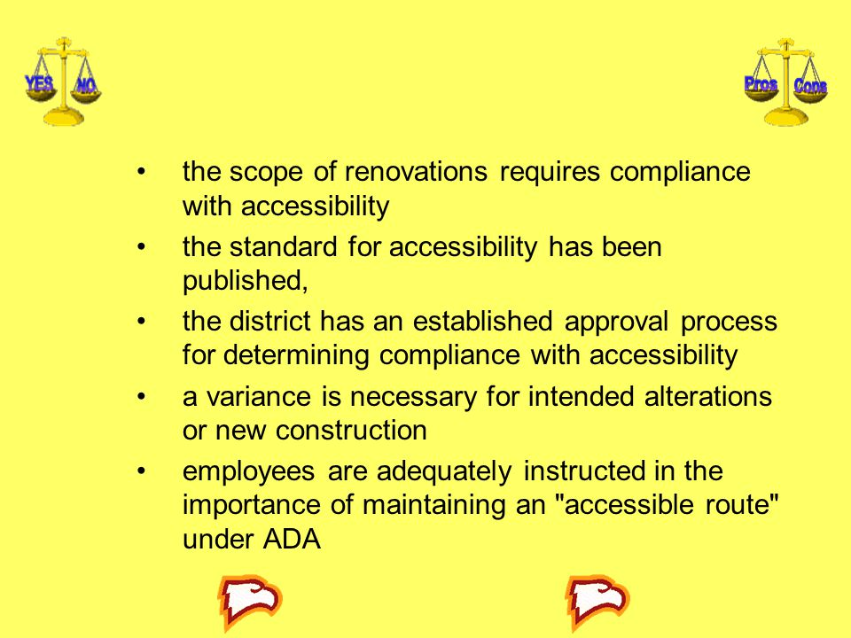 the scope of renovations requires compliance with accessibility