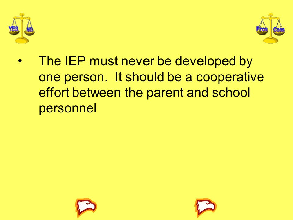 The IEP must never be developed by one person