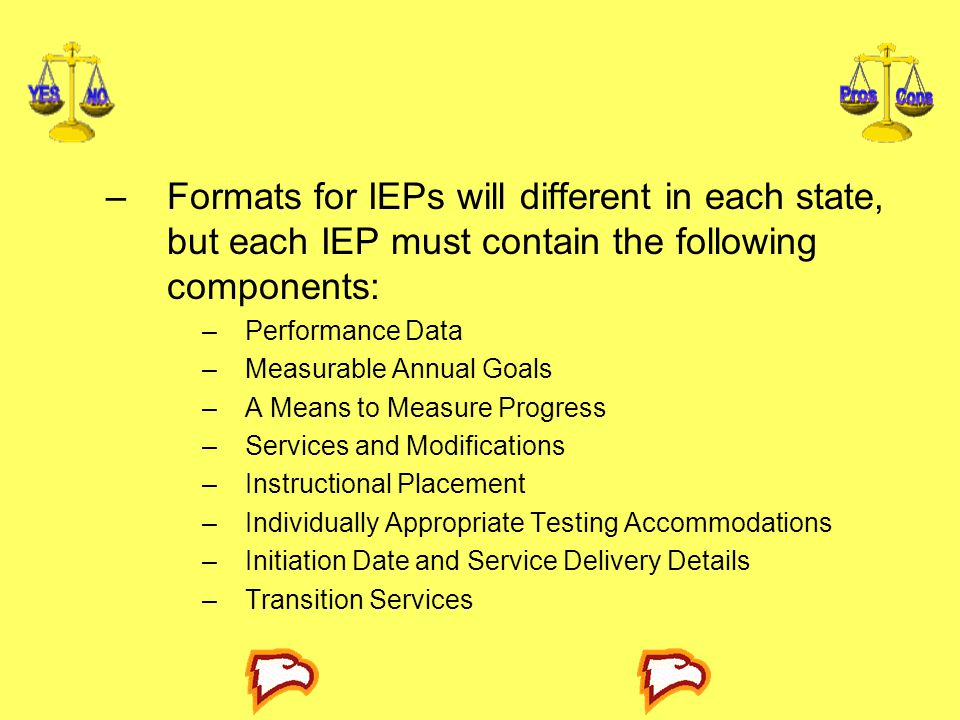 Formats for IEPs will different in each state, but each IEP must contain the following components: