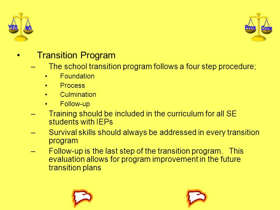 Transition Program The school transition program follows a four step procedure; Foundation. Process.