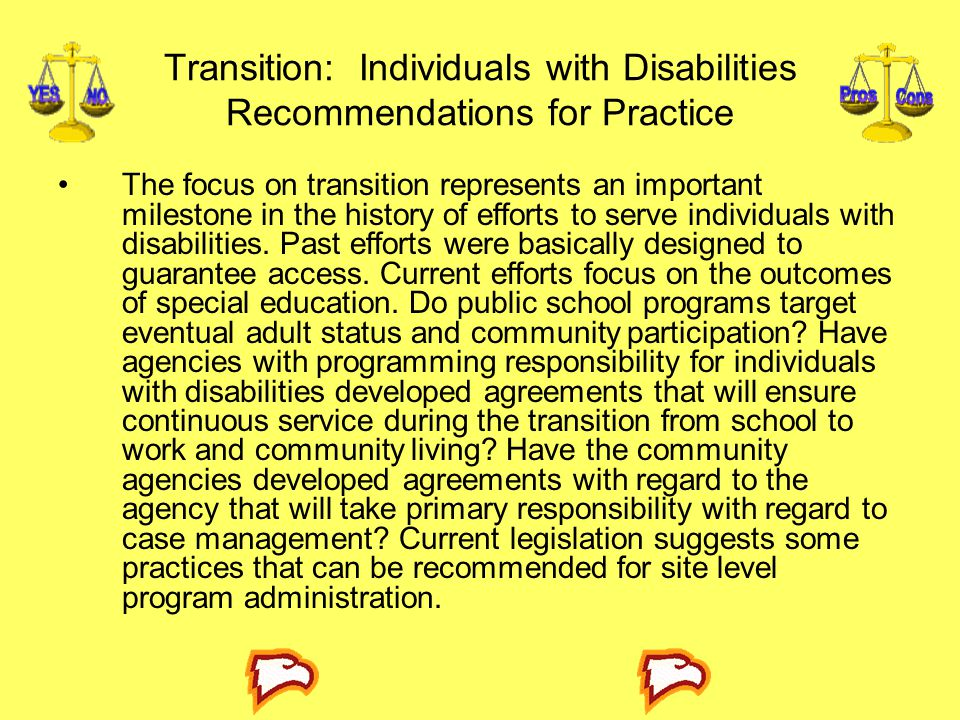 Transition: Individuals with Disabilities Recommendations for Practice