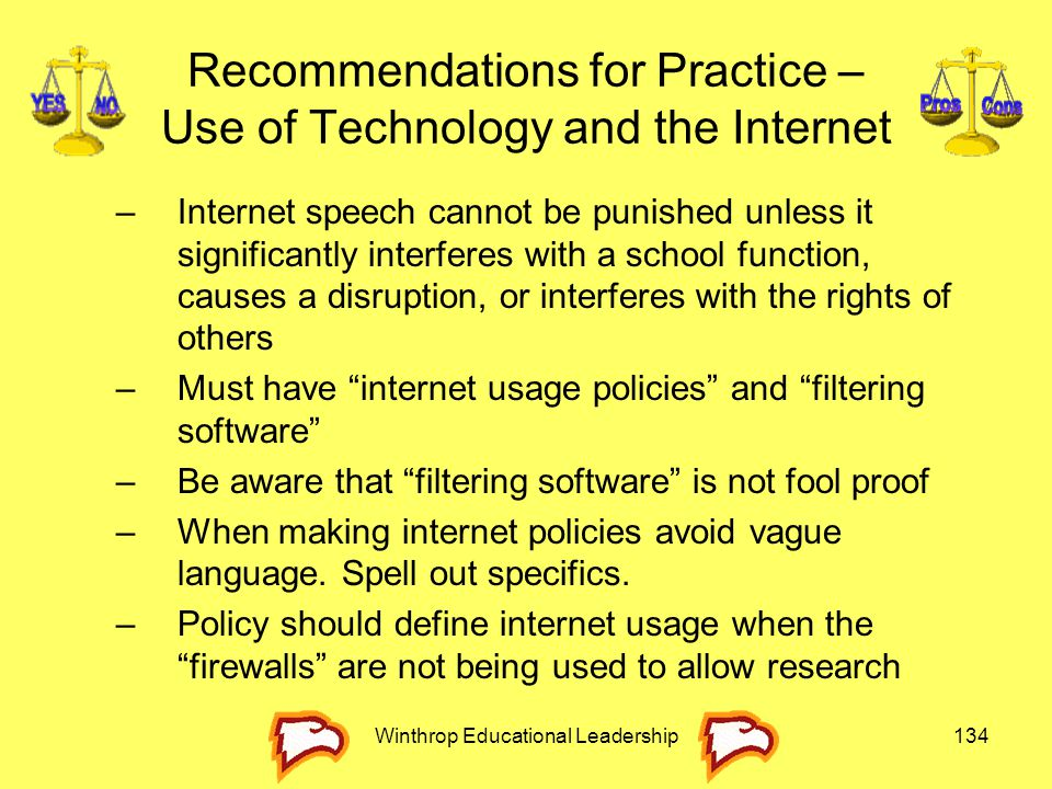 Recommendations for Practice – Use of Technology and the Internet