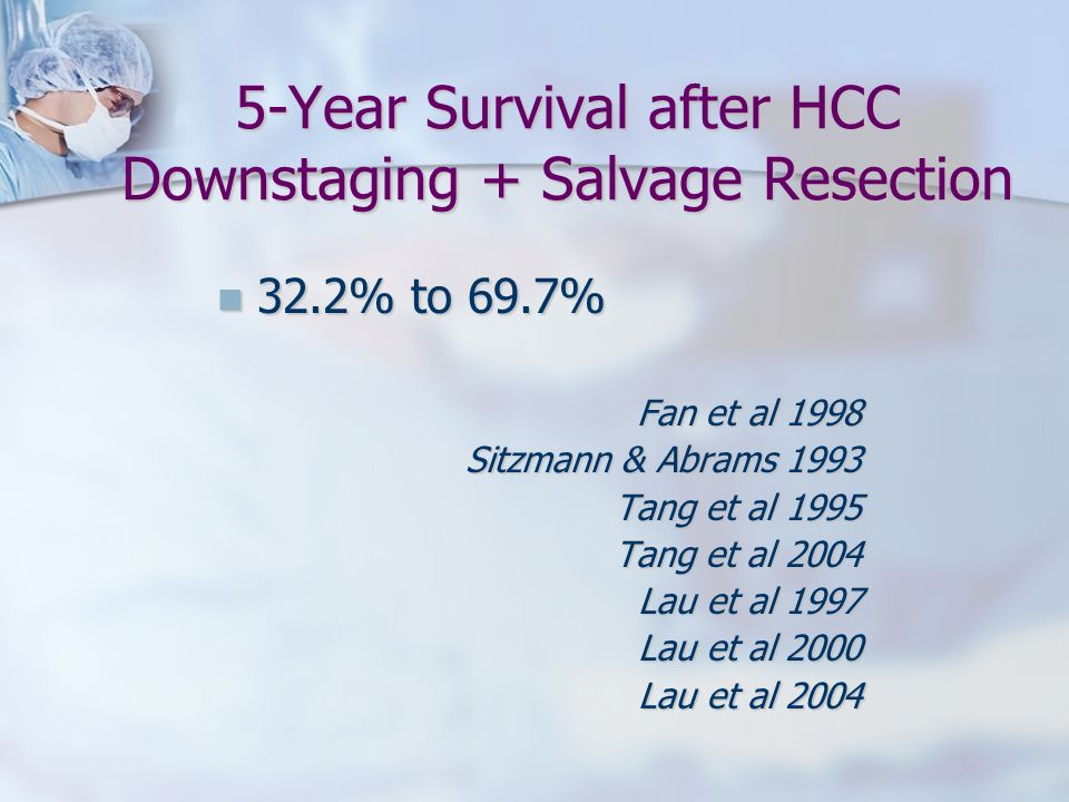 5-Year Survival after HCC Downstaging + Salvage Resection