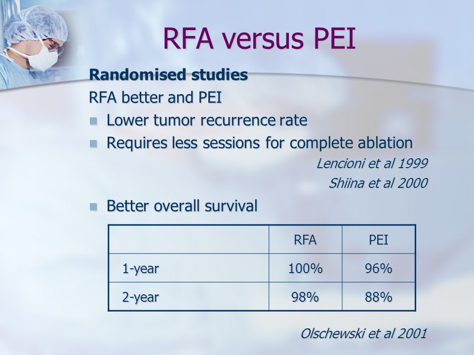 RFA versus PEI Randomised studies RFA better and PEI
