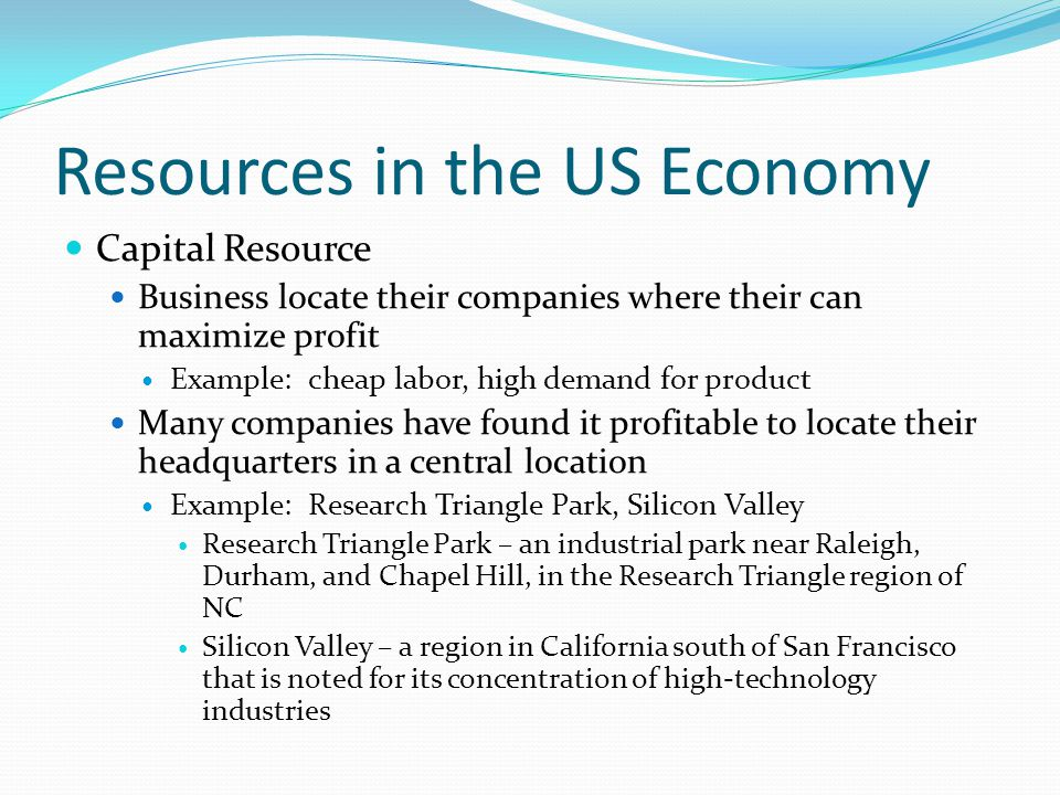 Resources in the US Economy