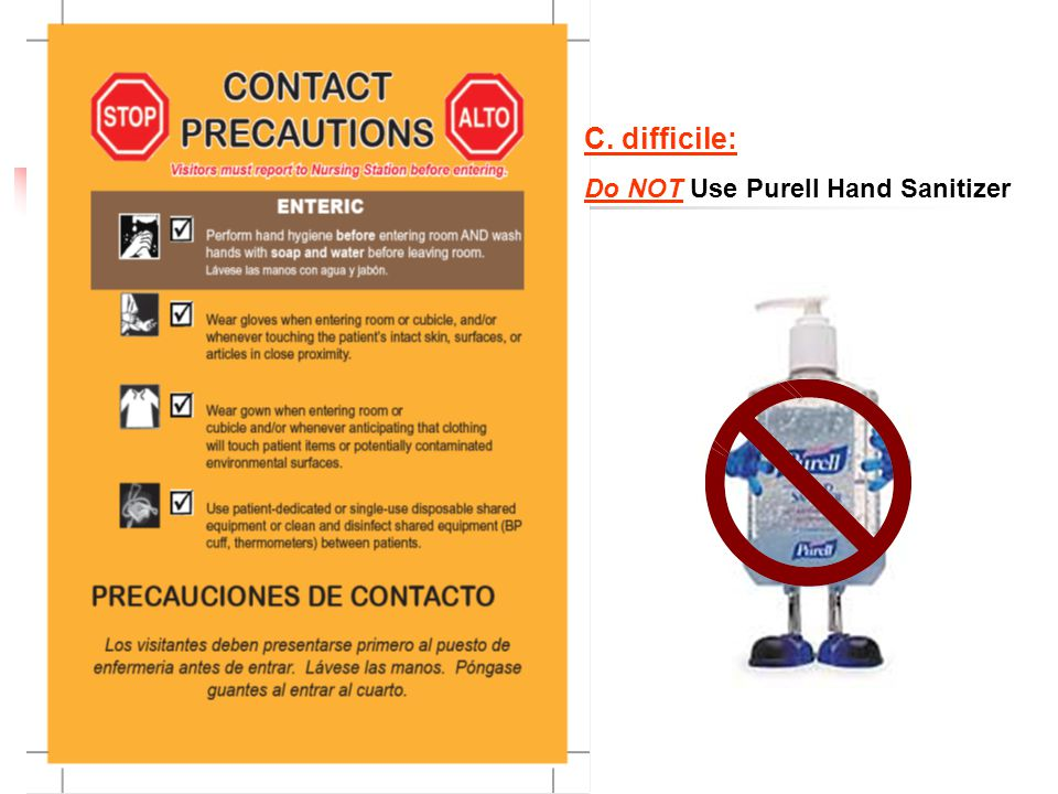 C. difficile: Do NOT Use Purell Hand Sanitizer