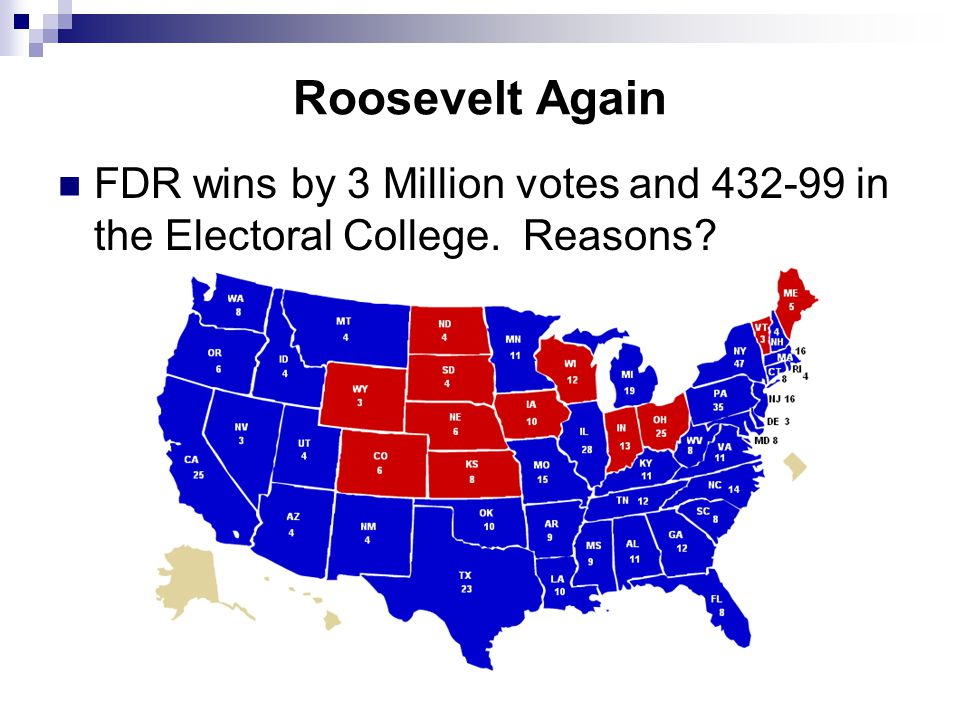 Roosevelt Again FDR wins by 3 Million votes and 432-99 in the Electoral College. Reasons