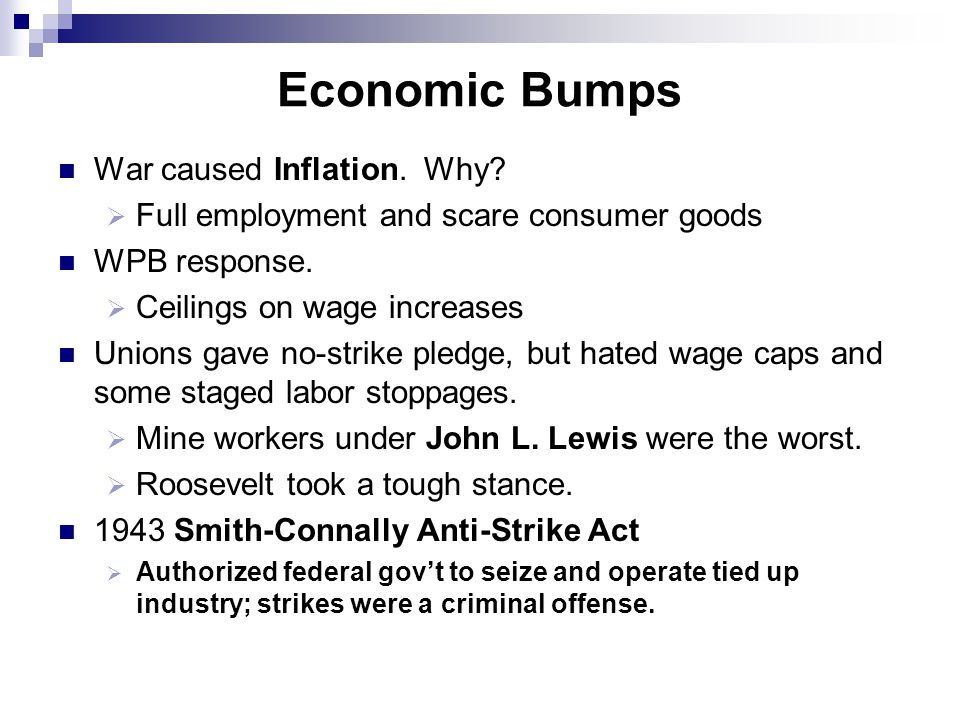 Economic Bumps War caused Inflation. Why