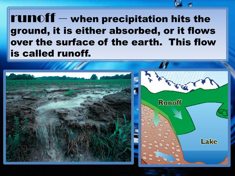 runoff – when precipitation hits the ground, it is either absorbed, or it flows over the surface of the earth.