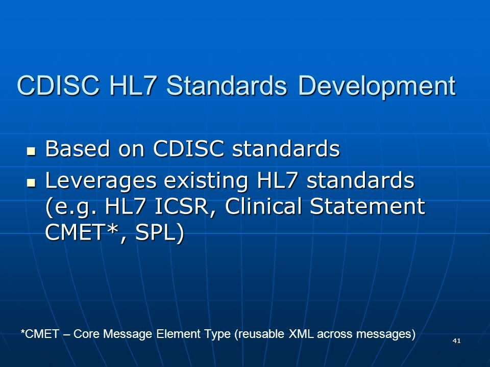 CDISC HL7 Standards Development