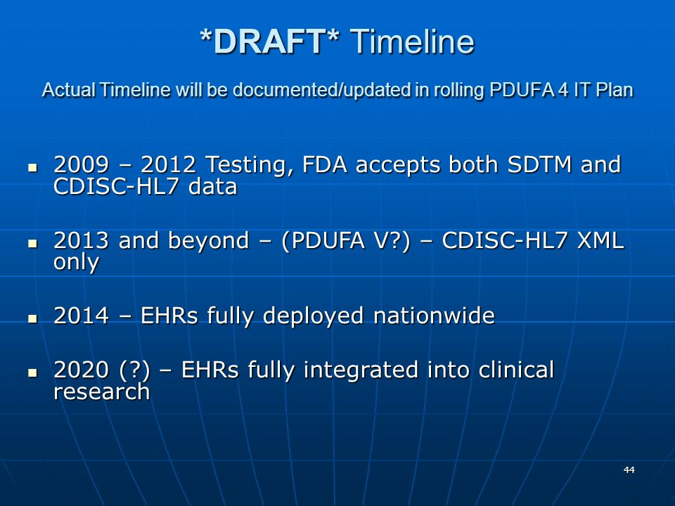 *DRAFT* Timeline Actual Timeline will be documented/updated in rolling PDUFA 4 IT Plan