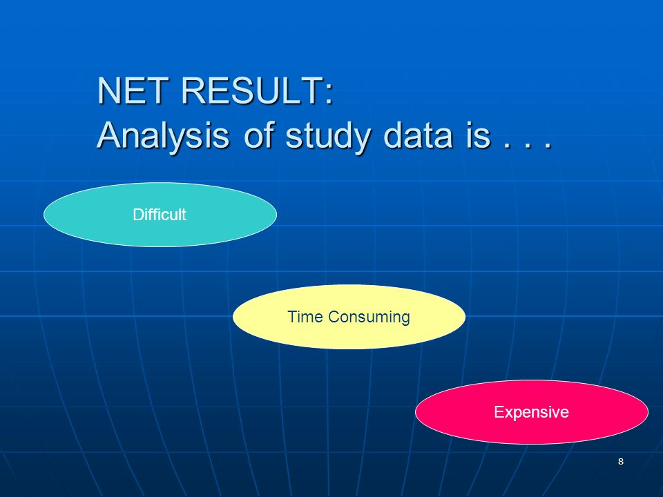 NET RESULT: Analysis of study data is . . .