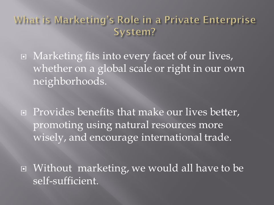 What is Marketing's Role in a Private Enterprise System