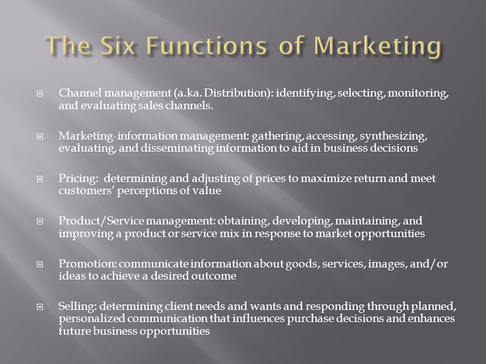 The Six Functions of Marketing