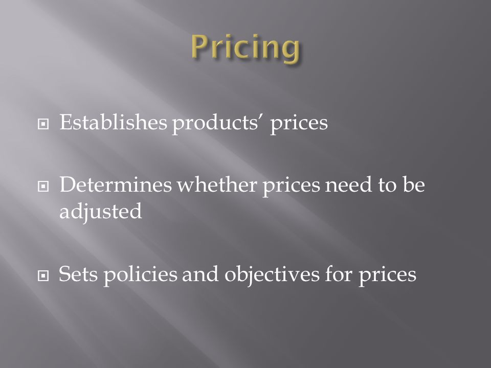 Pricing Establishes products' prices