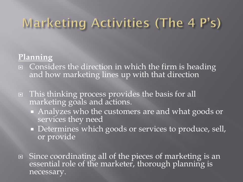 Marketing Activities (The 4 P's)