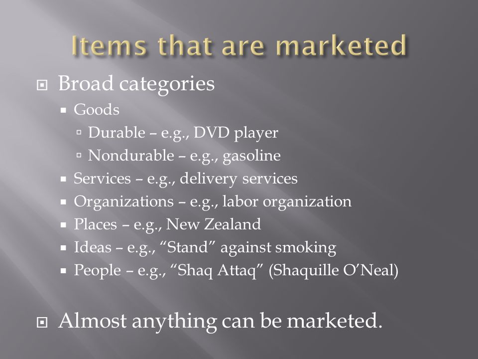 Items that are marketed