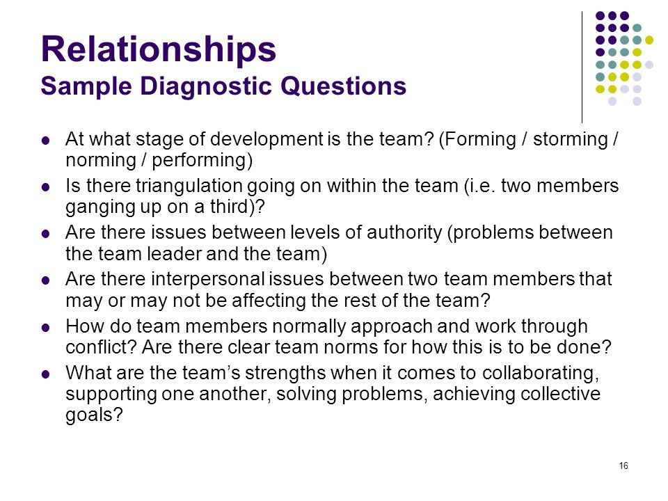 Relationships Sample Diagnostic Questions