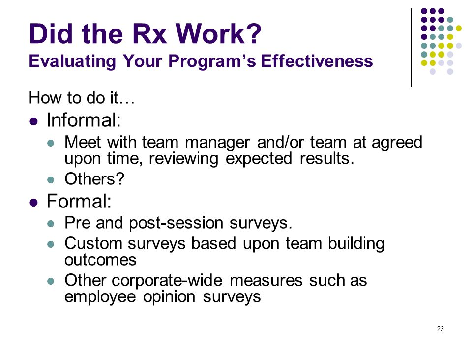 Did the Rx Work Evaluating Your Program's Effectiveness