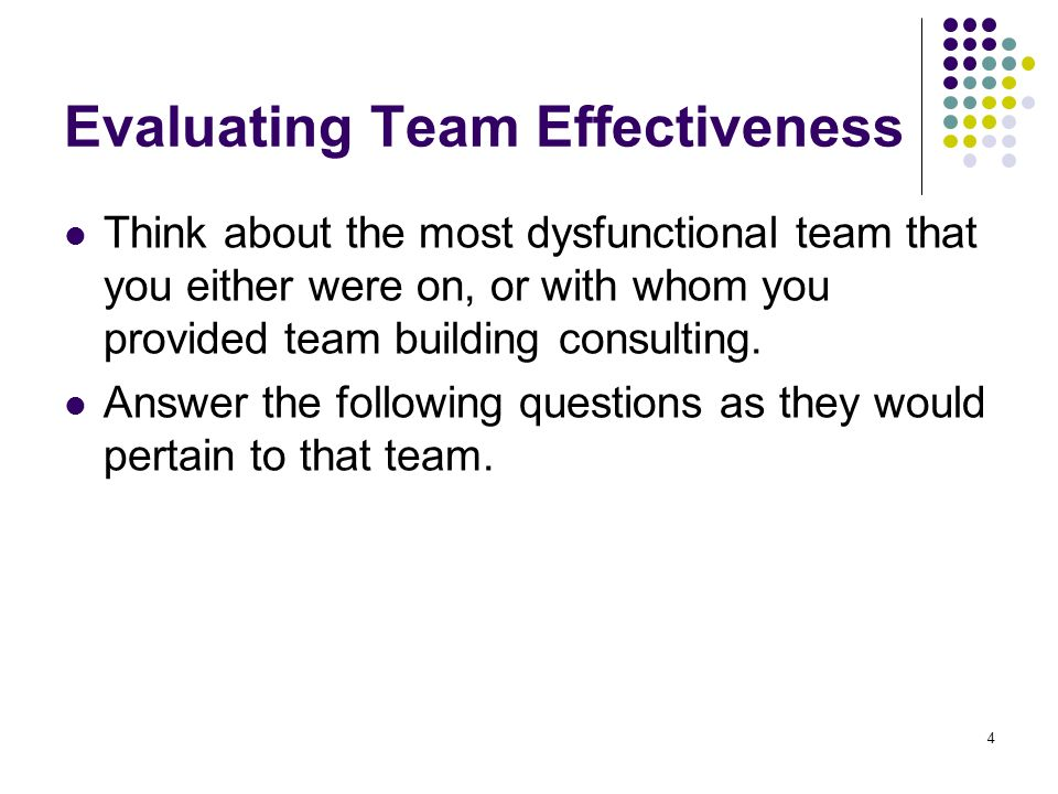 Evaluating Team Effectiveness