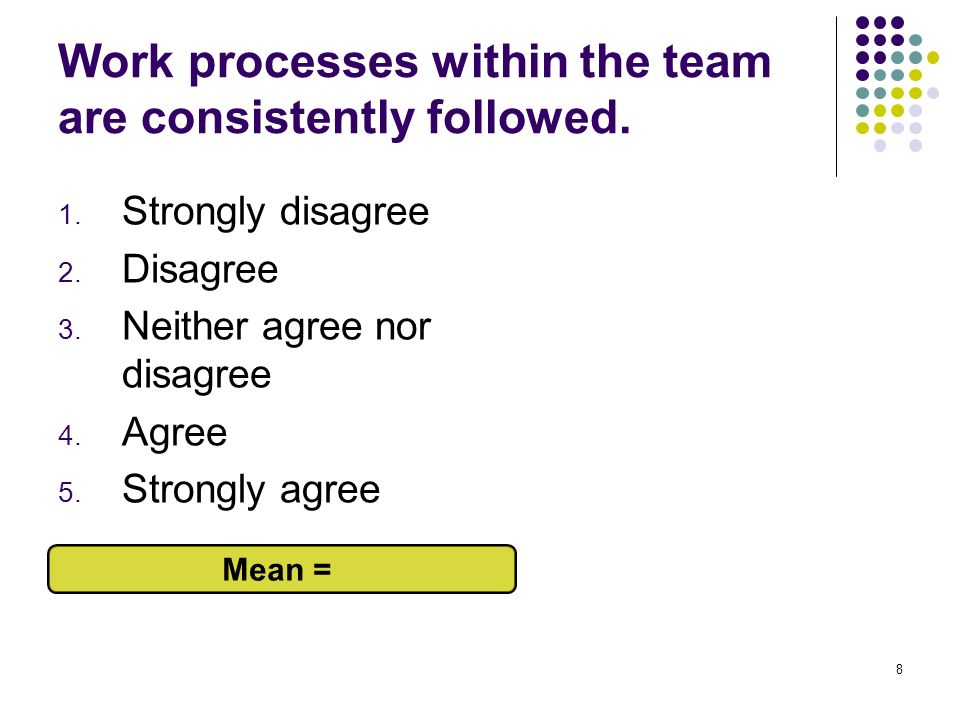 Work processes within the team are consistently followed.