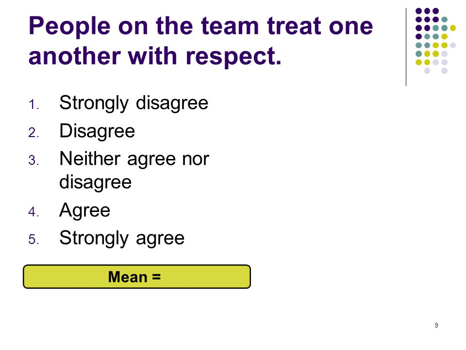 People on the team treat one another with respect.