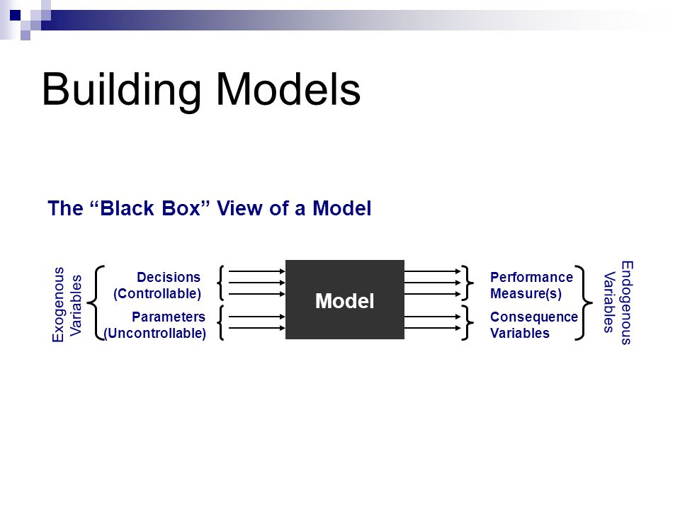 Building Models The Black Box View of a Model Model Endogenous