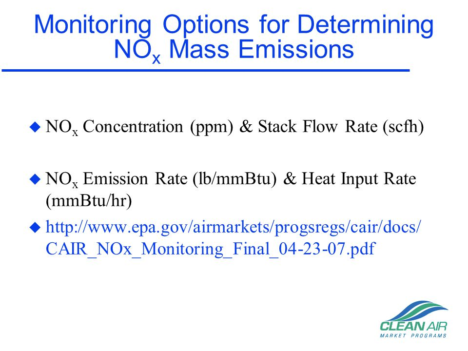 Monitoring Options for Determining NOx Mass Emissions