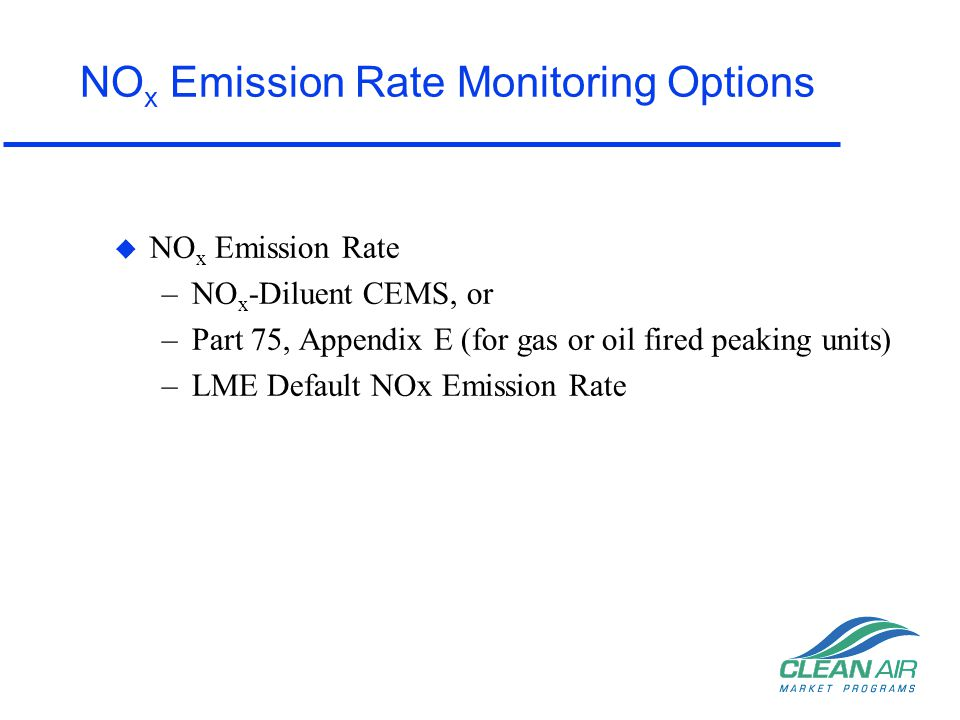 NOx Emission Rate Monitoring Options