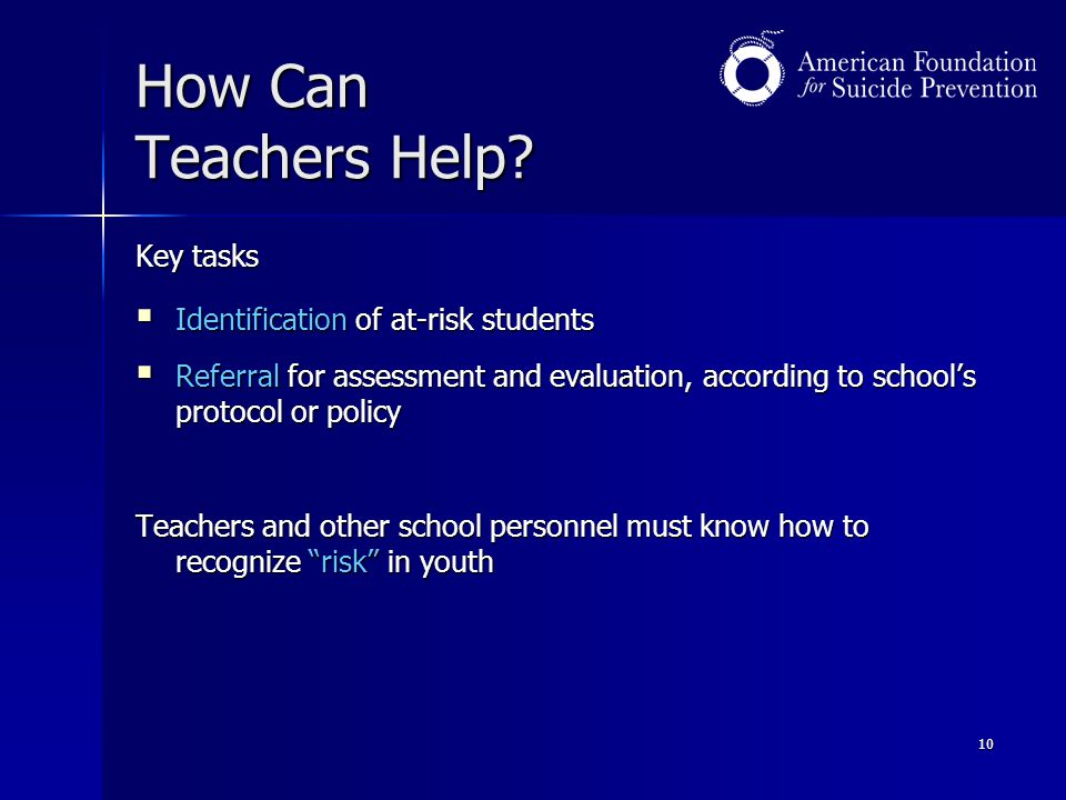 How Can Teachers Help Key tasks Identification of at-risk students