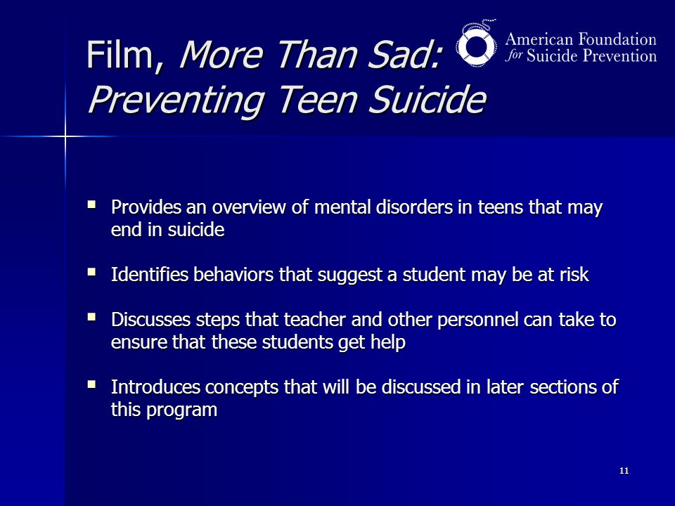 Film, More Than Sad: Preventing Teen Suicide