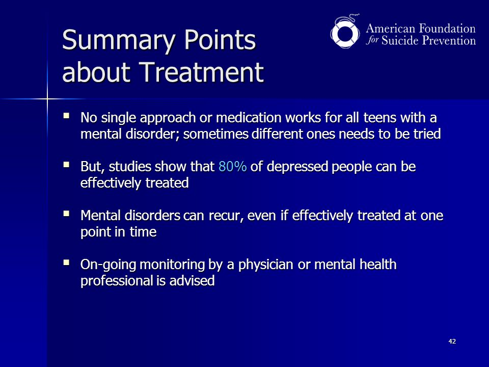 Summary Points about Treatment