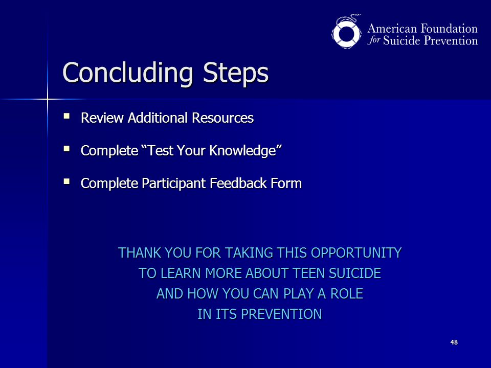 Concluding Steps Review Additional Resources