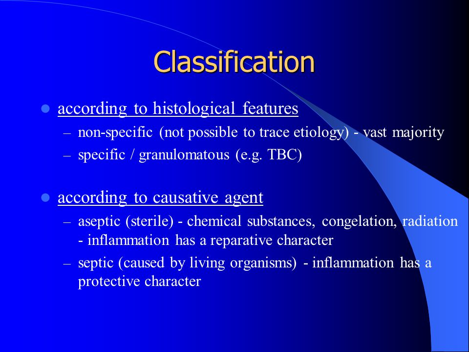 Classification according to histological features