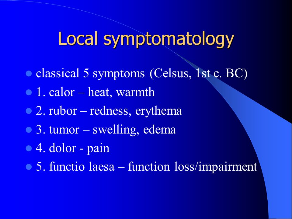 Local symptomatology classical 5 symptoms (Celsus, 1st c. BC)