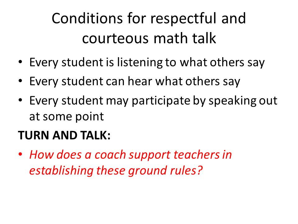 Conditions for respectful and courteous math talk